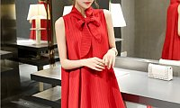Women's New European Root Yarn Bow knot Red Color Chiffon Dress WC-72RD