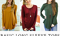 Shop Basic Long Sleeve Tops That Goes with Any Jeans & Shorts