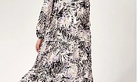 WOMEN'S TIE COLLAR PATTERNED MODEST LONG DRESS